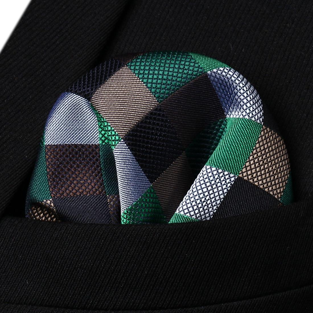 HC709Z Brown Green Black Check Men Silk Party Handkerchief Pocket Square Hanky