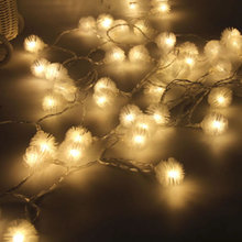 4M 40leds  Fur Ball Snowball 3 AA Battery Powered Fairy LED String Lights Outdoor Christmas New Year Garden Decoration