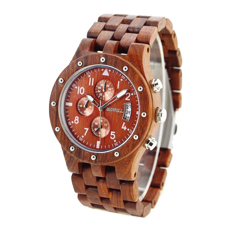 Luxury Men's Sandalwood Quartz Wrist Watch; Luminous Waterproof Chronograph Quartz