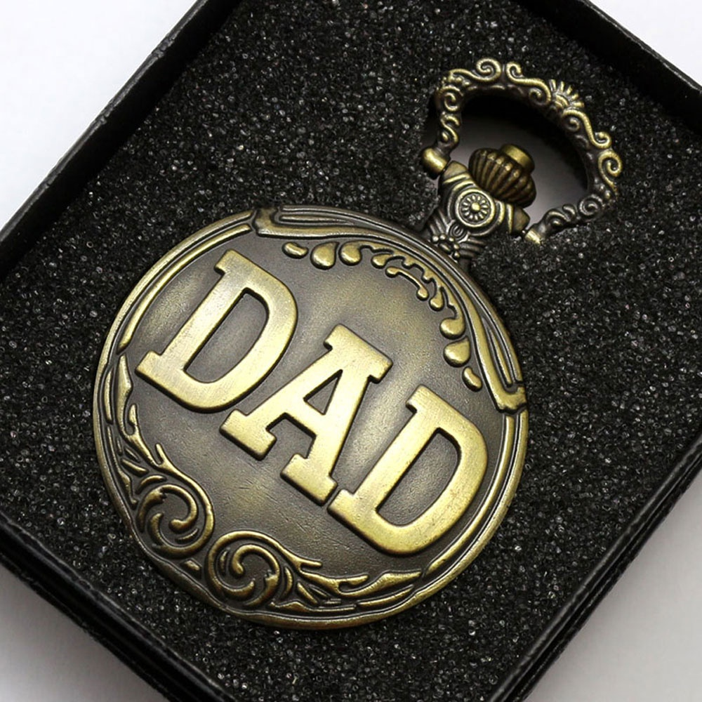 2017 Retro DAD Pocket Watch Neclace Pendant Dad Jewelry Mens Happy Father's Day Gift Sets Relogio De Bolso