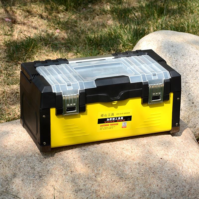 ステンレススティールツールケース耐衝撃安全ケース家庭用ハードウェア多機能手動メンテナンスツールボックスオンボードビン