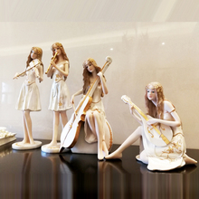 Beautiful music beauty Resin People miniature figurines Arts and Crafts Kawai Girl birthday gift wedding home