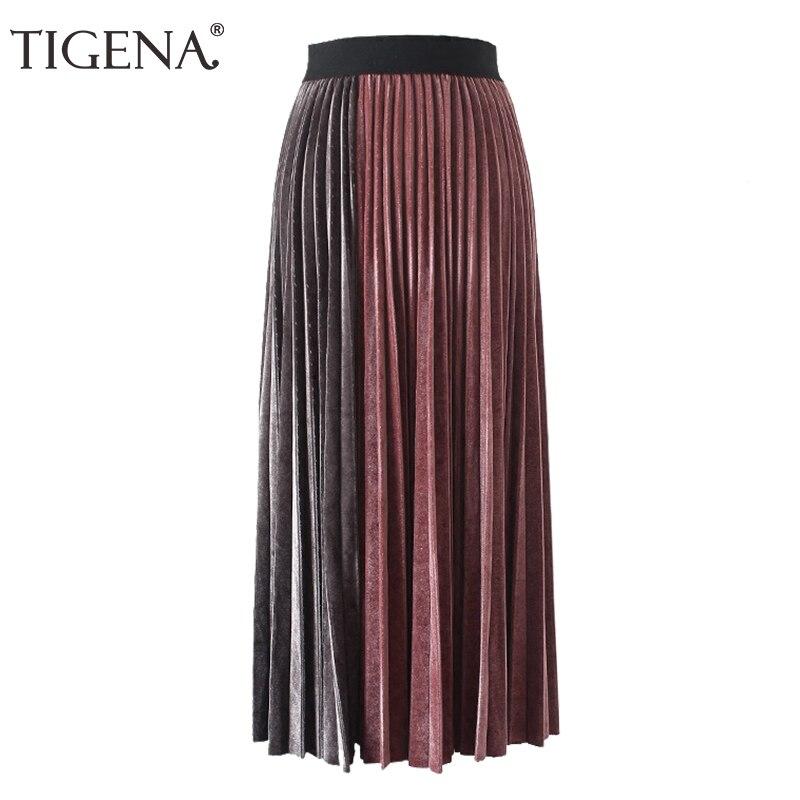 33ab2974c TIGENA Patchwork Velvet Pleated Skirts Women Fashion 2018 Autumn Winter  Casual High Waist Elegant Long Maxi Skirt Female