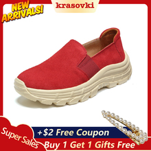 Krosovki Comfortable  Women Shoes Casual Wedges Platform Slip on Creepers Moccasins Slipony Female Suede Sneakers