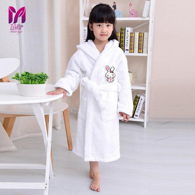 Children bathrobe cotton winter towel material cartoon cap boys and girls  bathing bath spa bathrobes 699ae7b2d