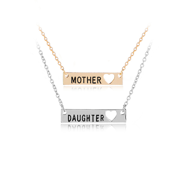 Minimalist Bar Necklace Mother Daughter Open Heart Pendant Necklace Mother's Day Gift