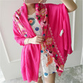 Vintage National Style Pashmina Embroidered Floral Ponchos And Capes Long Large Hijab Scarf Shawl Foulard Bandana Wraps