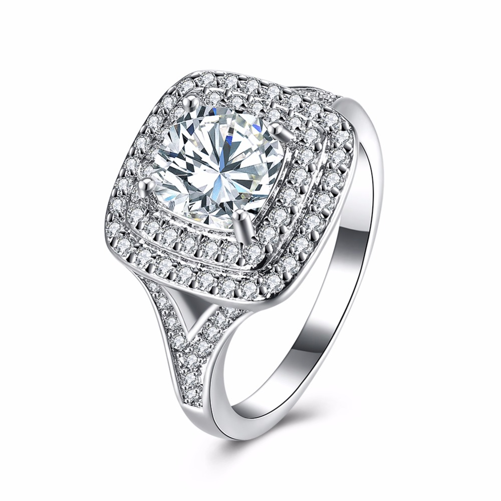 2017 square promise rings new white gold colour jewelry large size 6 7 8 9 white cubic zircon women engagement ring - Large Wedding Rings