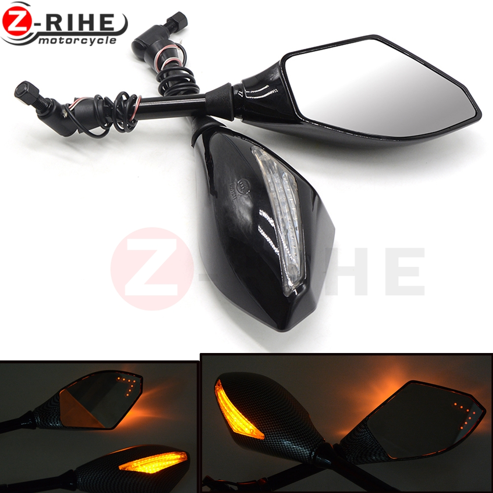 Motorcycle Rear View Mirrors Side Mirror With LED Turn Signals Light Indicator For Honda CB 599 919 400 CB600 HORNET CBR 1000 motorcycle indicator rear view side mirrors