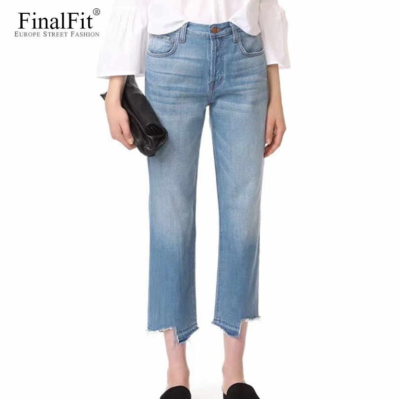 search for clearance best cheap online sale High Waist Ankle Jeans Women Straight Leg Asymmetric Raw-Cut Frayed  Distressed Women Jeans Pants