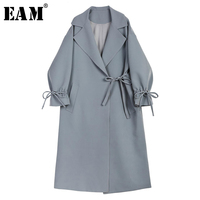 EAM 2018 Spring New Pattern Fashion Lapel Bow Long Sleeve Trendy Windbreaker Gray Blue Loose