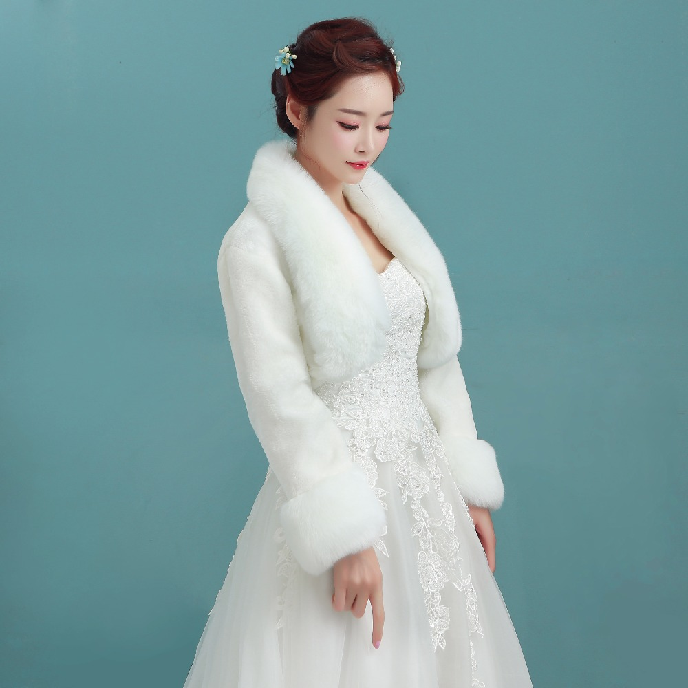 Wedding Accessories High Quality Faux Fur Bolero Long Sleeves Ivory ...