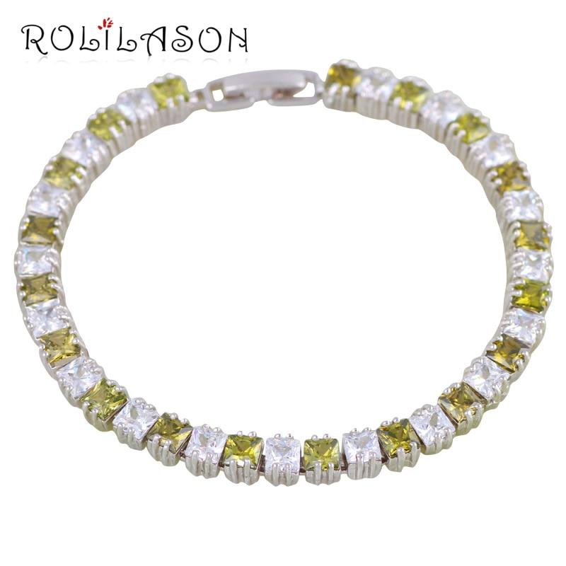 5241c572b53c ᗖROLILASON de luz verde Chapado en plata pulseras para mujeres ...
