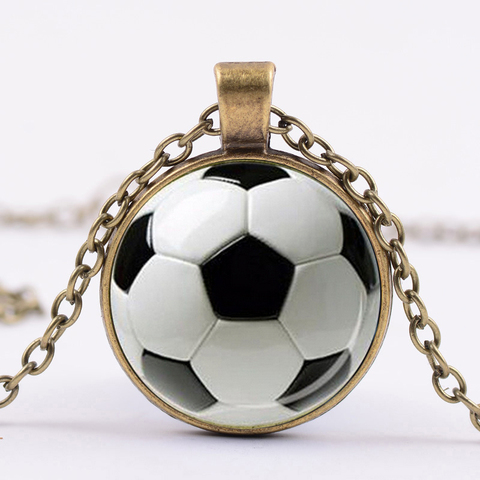 SIAN Novelty Fashion Soccer Pendant Necklace Football Art Photo Glass Cabochon Long Necklace Men Boy Children Gift Sport Jewelry Lahore