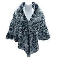 Для женщин зимние Накидки пальто Леди Настоящее Рекс кролика ручной вязки отложным воротником полукруг Пончо Куртка 160 см черный