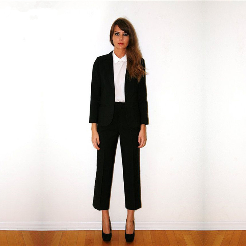 Women Tuxedo Shawl Black Custom Lapel Suits For Women Business Suits One Button 2 Piece Set Women Pants Suit Blazer Set