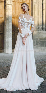 Image 3 - Scoop Tulle Neckline Long Sleeves Lace Applique A line Wedding Dress with Backless Sweep Train Illusion Robe de mariée