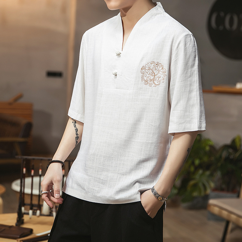 2019 été nouveau style chinois coton et lin broderie décontracté sept points manches T-shirt grande taille bouton de broderie