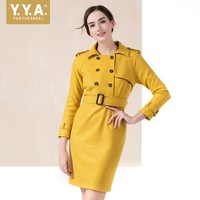 2019 New Autumn Womens Trench Coat Yellow Double Breasted Wrap Long Coat Elegant Slim Fit Belted OL Windbreaker Female Size 2XL