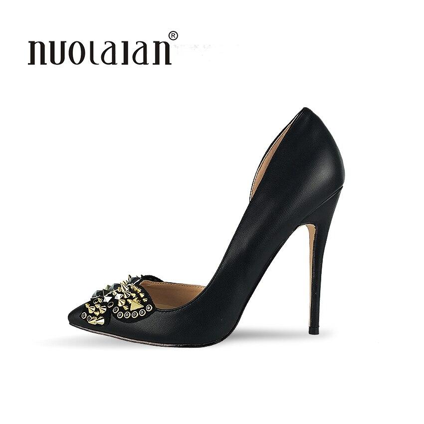 все цены на Brand Shoes Woman High Heels Women Shoes Pumps Stilettos Shoes For Women Black High Heels 12CM Designer Rivets Wedding Shoes онлайн