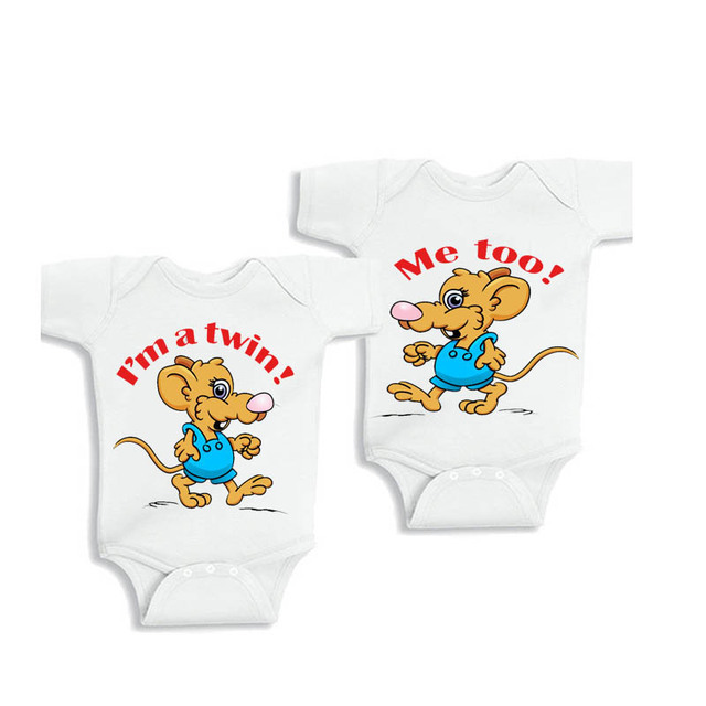 Ysculbutol I Am A Twin Me Too Baby Outfits Twin Baby Bodysuit Twin