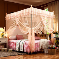 {Byetee} Princess Lace Mosquito Net Three Door Bed Canopy Adult Mosquito Tent fabric with Stainless Steel Frame