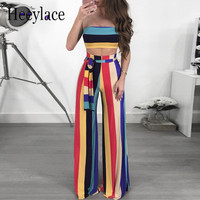 Summer Two Piece Set Striped Jumpsuit Sexy Strapless Wide Leg Pants Club Party Overalls Rompers Womens Jumpsuit bandage Rainbow