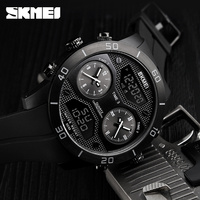 SKMEI New Mens Outdoor Sports Watches Fashion Brand 3 Time Multifunction Digital LED Military Wristwatches Relogio Masculino