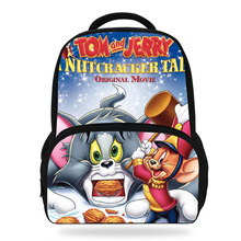 14Inch Newest Cartoon 3DTom and Jerry School Backpack Set For Children Cats Mouse Printed Bag Kids Boys Girls
