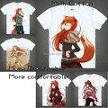 2015 Spice and Wolf Holo Camiseta Trajes Cosplay Japonês Famoso Anime T-shirt dos homens Camisetas Masculina Presente Original