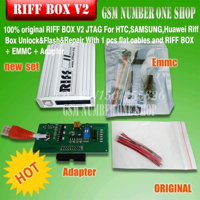 100% original RIFF boîte JTAG pour HTC, SAMSUNG, Huawei Riff boîte déverrouillage & Flash & réparation avec câbles plats et RIFF boîte EMMC adaptateur