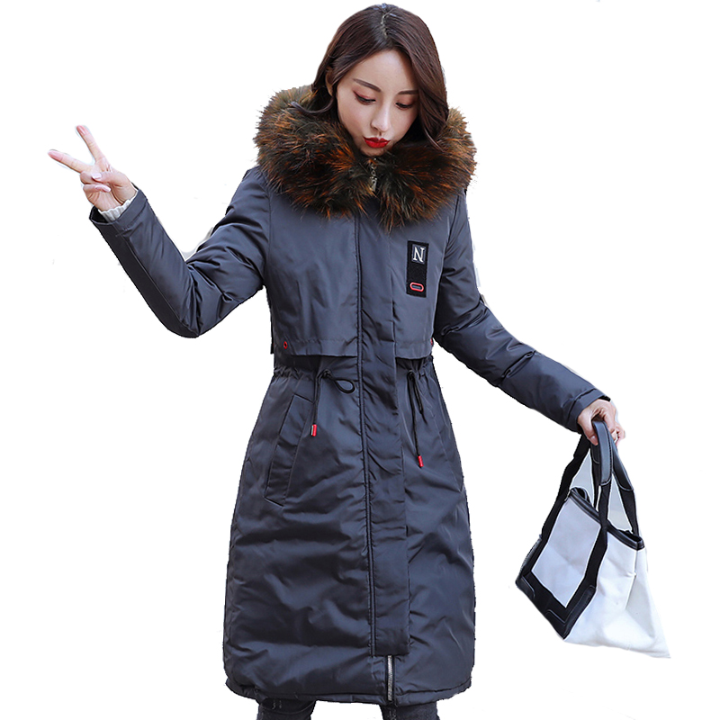 2019 New Arrival Winter Jacket Women Long Cotton Padded Outerwear Womens Coat Parka With Colorful Fur