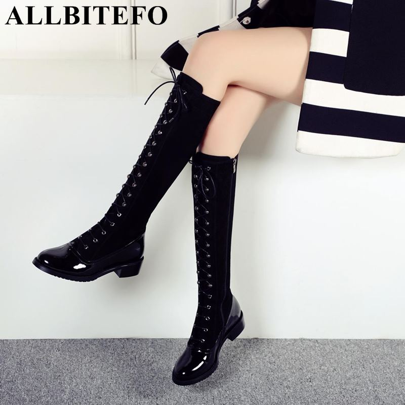 ALLBITEFO genuine leather + flock women boots fashion sexy girls over the knee boots winter plush thigh high boots woman shoes allbitefo natural genuine leather women boots high quality winter girls knee high long boots fashion thigh high boots for woman