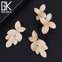GODKI Famous Trendy Luxury AAA Cubic Zirconia CZ Engagement Earring Ring Sets For Women Wedding Brides DUBAI Silver Jewelry Sets(China)