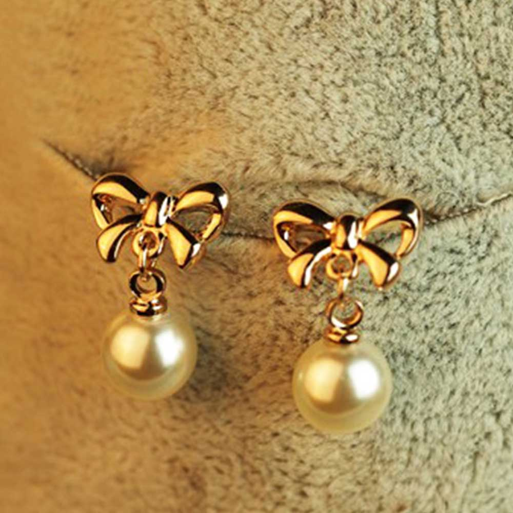 Tomtosh 2017 New Shapeshift Stud Earring Bow Pearl Earrings Accessories Pearl  Bow Jewelry Gifts
