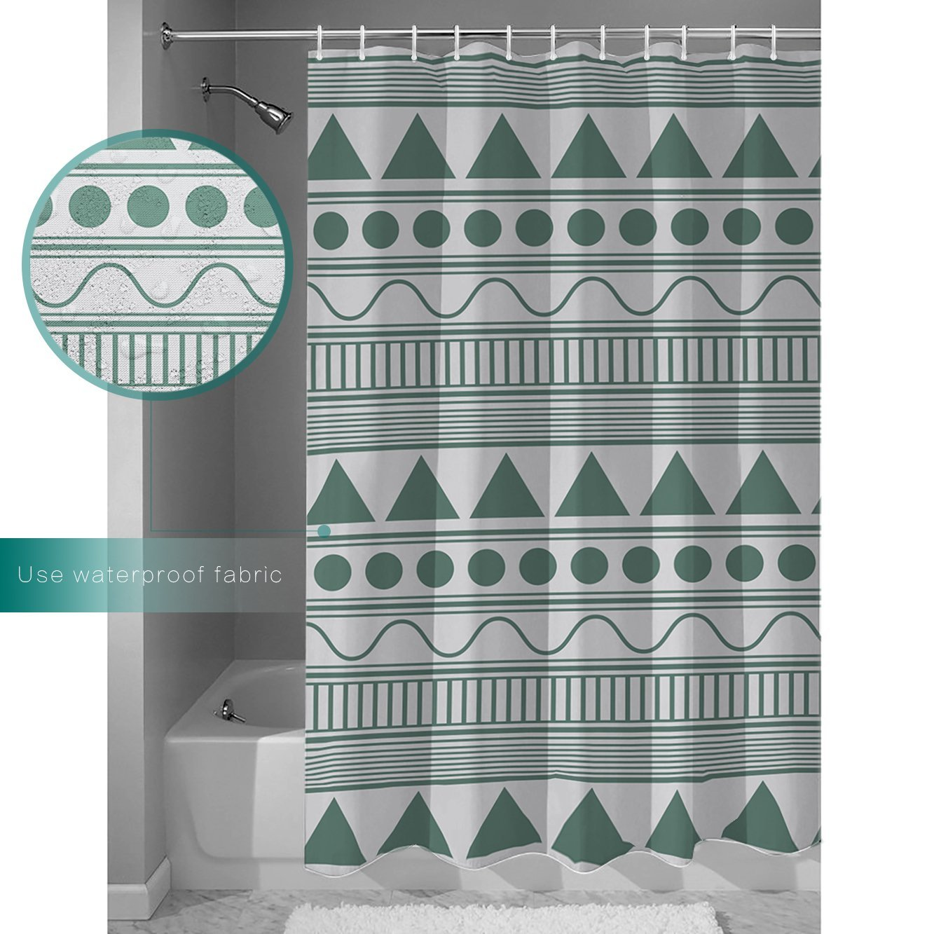 Shower Curtain Dot Wave Geometric Pattern Dark Green