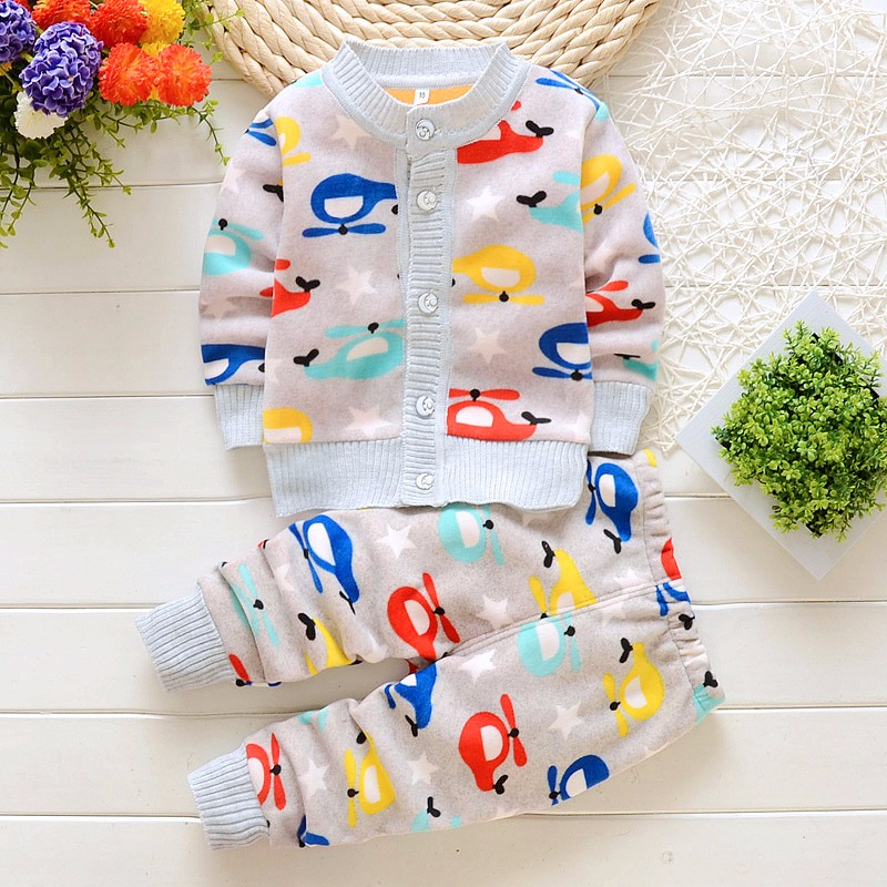 BibiCola Baby Boy Girl Clothing Set Children Winter Warm Clothes Kids Tracksuit Clothes Infant Baby Pajamas Set Child Sport Set