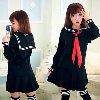 de47d6d1e UPHYD la escuela japonesa uniforme marinero uniformes con la bufanda roja  JK niñas disfraces Cosplay 3 unids set