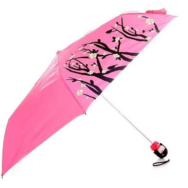 novelty items Umbrella Kimono Girl Traditional kokeshi umbrella Japanese Dolls Bottle kokeshi folding parasol sun umbrella 2