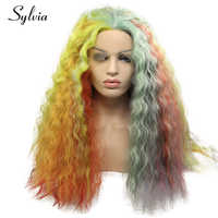 Sylvia rainbow colorful water wave synthetic lace front wig mixed multicolour half hand tied heat resistant fiber hair for woman