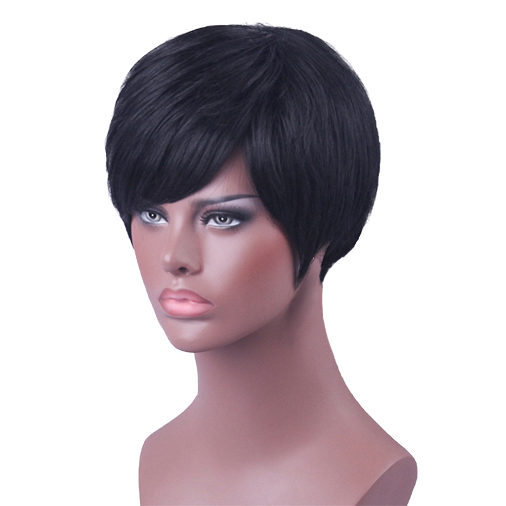8 Silky Straight Human Hair Free Part Short Stylish Wig with Bangs Natural Black Color for Women African American with Free Cap stylish black side bang synthetic fluffy medium natural straight adiors wig for women