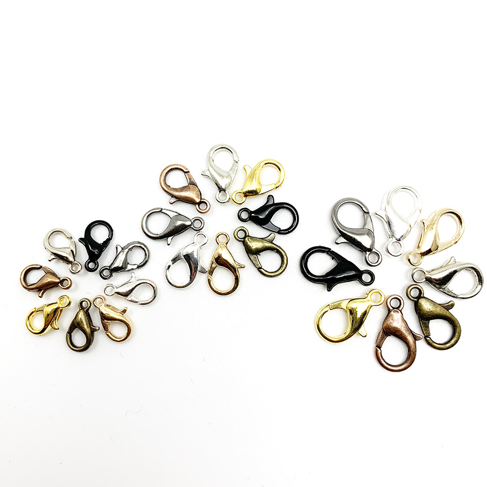 50pcs/lot 10*5 12*6 14*7mm Gold Silver Rhodium Metal Lobster Clasps Hooks For Necklace Bracelet Chain DIY Jewelry Findings