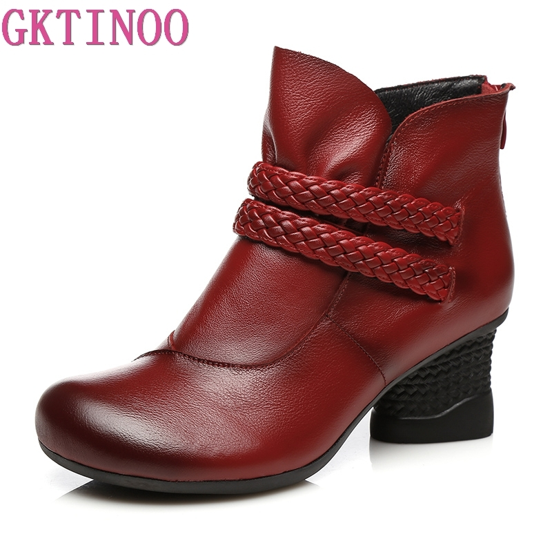 GKTINOO Autumn Shoes Woman Cow Leather Winter Shoes High Heels Ankle Boots Genuine Leather Handmade Retro