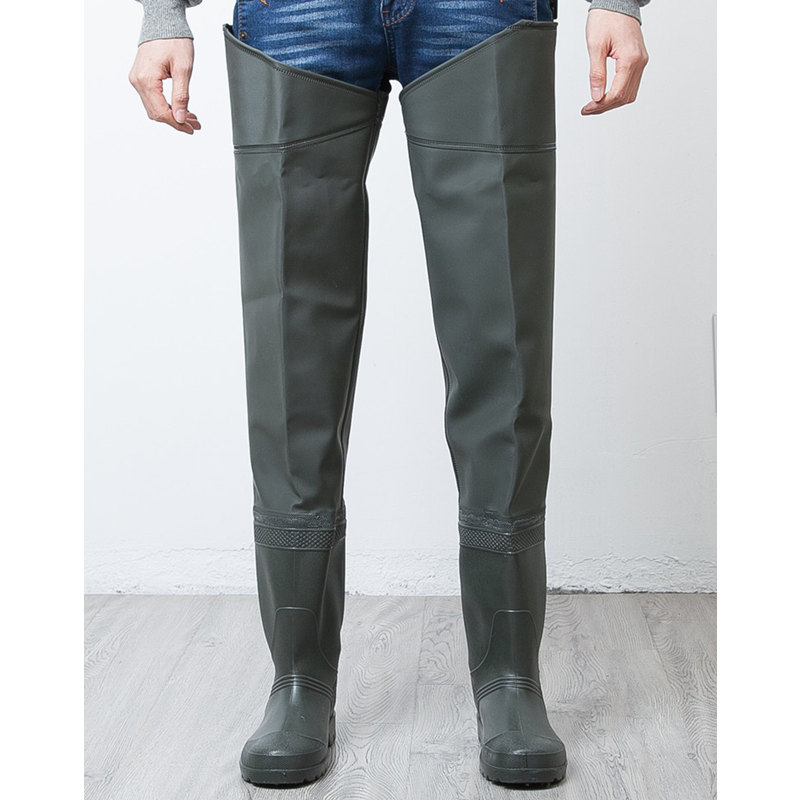 High Jump Unisex Fishing Waders Pants 0 6mm PVC Synthetic Leather Fishing Boots Thickening Sole Hunting