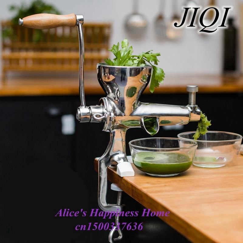JIQI Hand Stainless Steel wheatgrass Juicer manual Auger Slow squeezer Fruit Wheatgrass Vegetable orange juice extractor household healthy manual slow food juicer extractor fruit vegetable wheatgrass juice squeezing machine