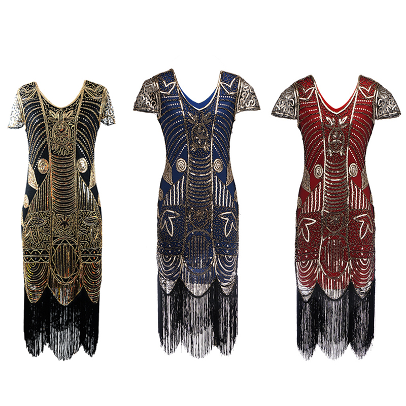 red golden blue golden black golden  Gold Deluxe Ladies 1920s Roaring Flapper Costume Sequins Gatsby Fancy Dress