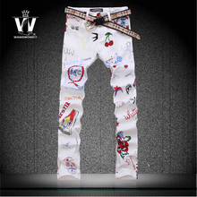 Colored drawing jeans male summer thin slim print flowers pants male elastic jeans men top brand
