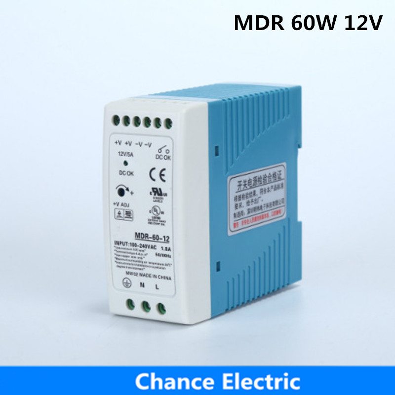DIN Rail 12v 60w Industry Switching mode Power Supply MDR 5A for cnc cctv led light  made in china   (MDR60W-12V) ac dc dr 60 5v 60w 5vdc switching power supply din rail for led light free shipping