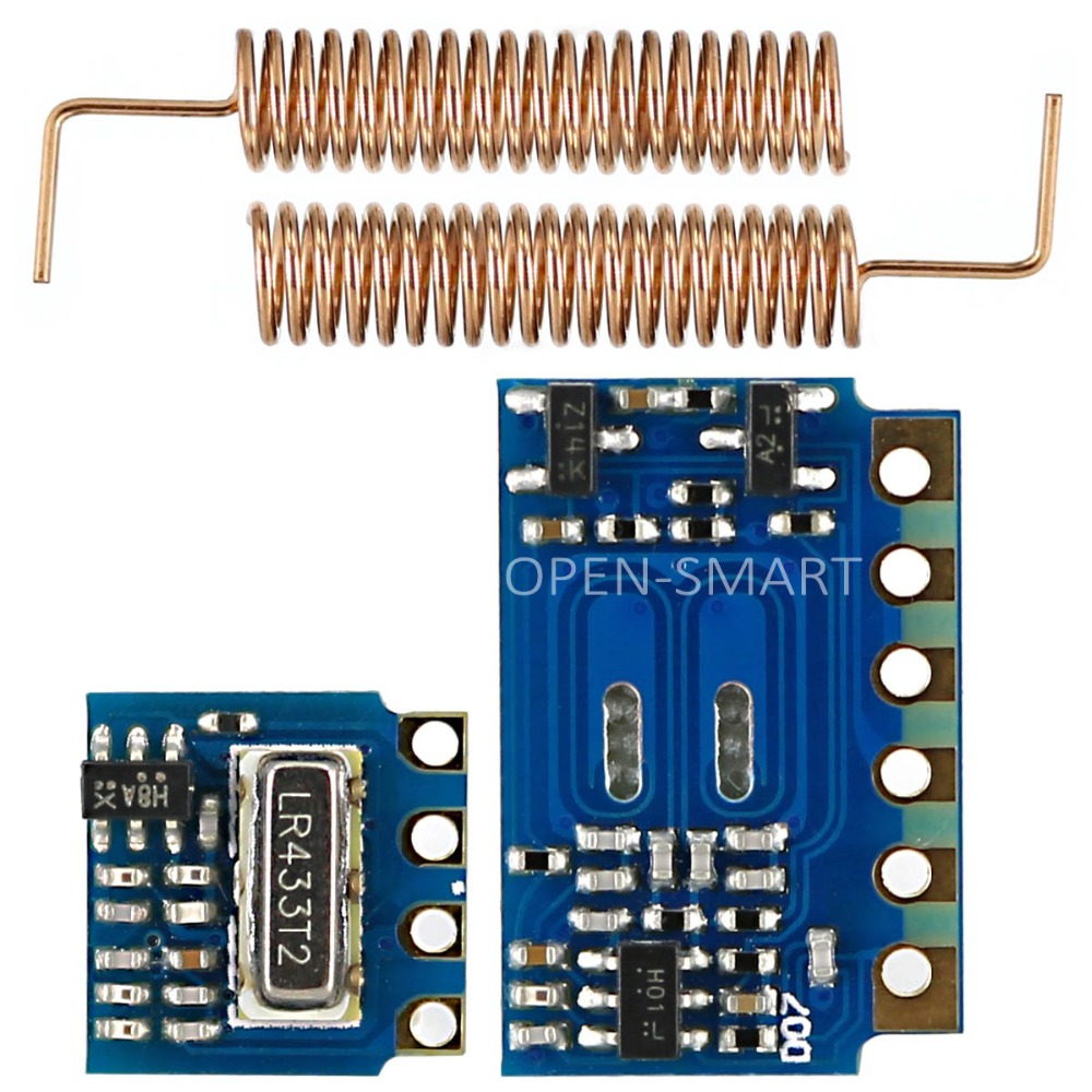 RF Module 433MHz For Arduino 433MHz Transmitter Receiver Module RF Wireless Link Kit +2PCS 433MHz Spring Antennas