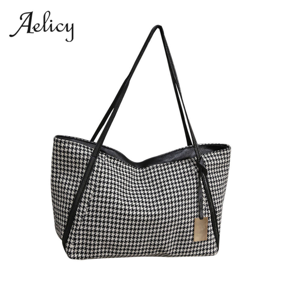 New Canvas Tote Bags Canvas Woman Shopping Bag Women's Fashion Canvas Houndstooth Handle Bags Shoulder Bag Sac A Main
